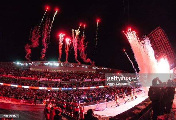A general view of the stadium with fireworks prior to the 2017 Scotiabank NHL100 Classic between the Ottawa Senators and the Montreal Canadiens at...