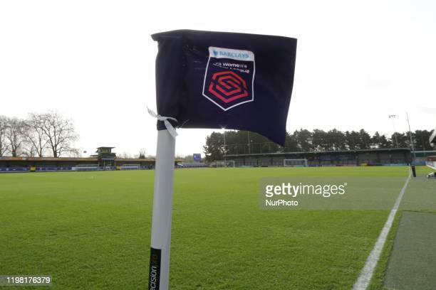 A general view of the stadium with the corner flag during the Barclays FA Women's Super League match between Chelsea and West Ham United at the...