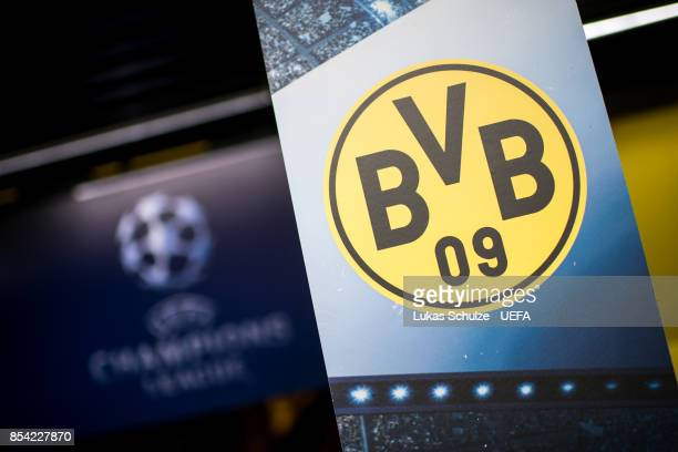 General view of the stadium with the logo of Dortmund prior to the UEFA Champions League group H match between Borussia Dortmund and Real Madrid at...