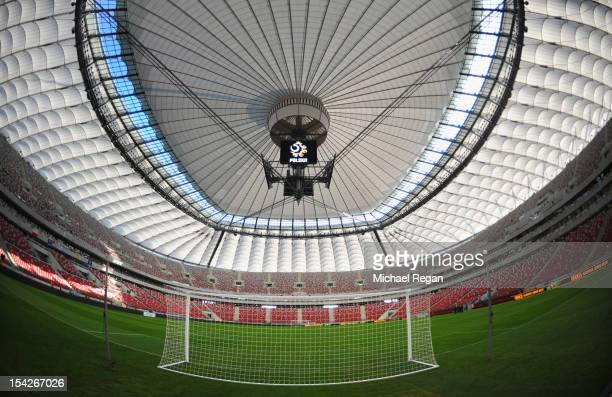 A general view of the stadium with the roof closed before the FIFA 2014 World Cup Qualifier between Poland and England at the National Stadium on...