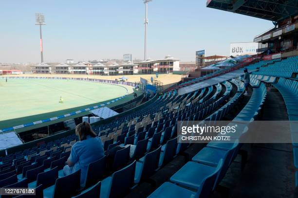 General view of the stadium without supporters during the 3TC Solidarity Cup cricket match between KGs Kingfishers, Quinnys Kites and ABs Eagles at...