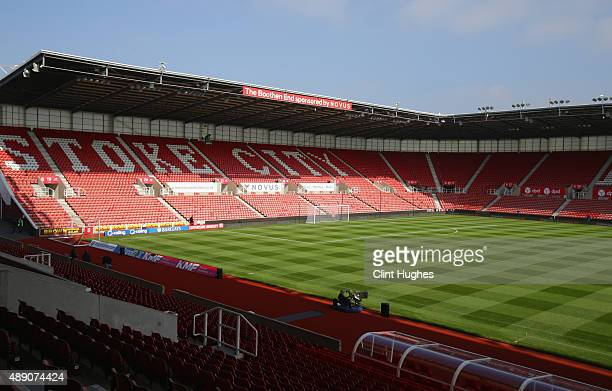 A general view of the stadiume prior to the Barclays Premier League match between Stoke City and Leicester City at Britannia Stadium on September 19...