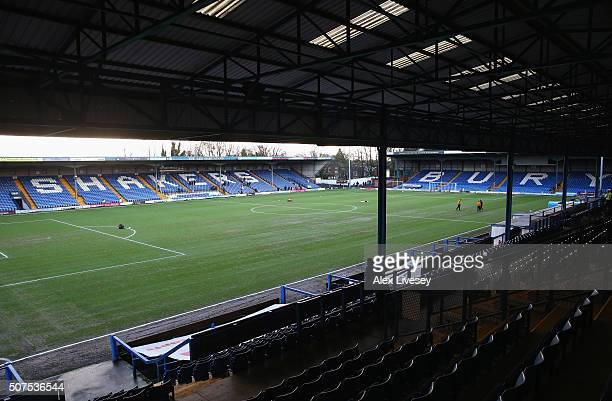A general view of the stadiun prir to the Emirates FA Cup fourth round match at between Bury and Hull City at Gigg Lane on January 30 2016 in Bury...