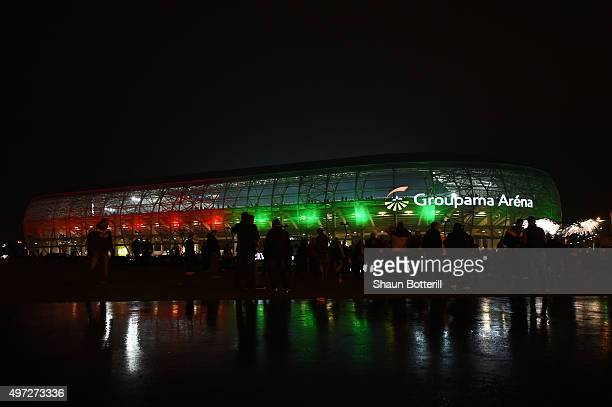 General view of the stadumprior to kickoff during the UEFA EURO 2016 Qualifier Play-Off, second leg match between Hungary and Norway at Groupama...