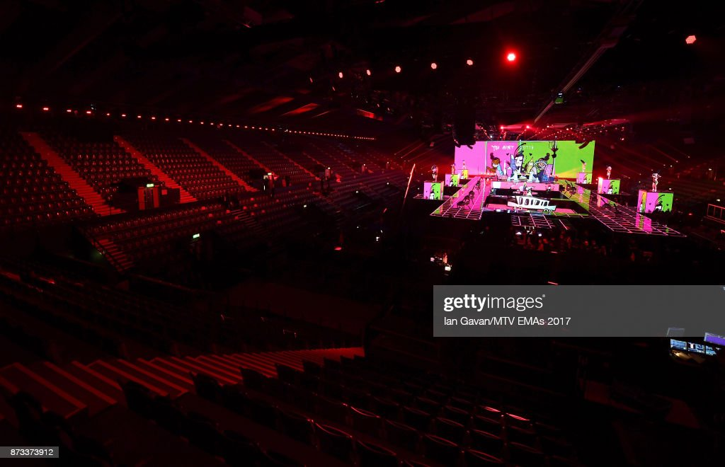 A general view of the stage ahead of the MTV EMAs 2017 on November 12, 2017 in London, England. The MTV EMAs 2017 is held at The SSE Arena, Wembley on November 12, 2017.