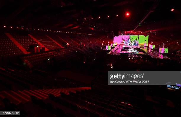 A general view of the stage ahead of the MTV EMAs 2017 on November 12 2017 in London England The MTV EMAs 2017 is held at The SSE Arena Wembley on...
