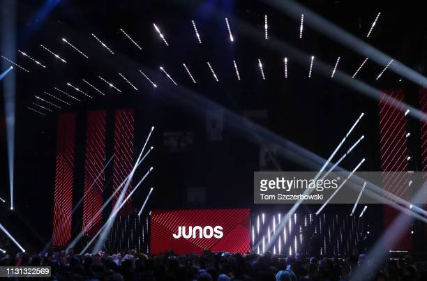 A general view of the stage and arena with spotlights swirling during the award show at the 2019 Juno Awards at Budweiser Gardens on March 17 2019 in...