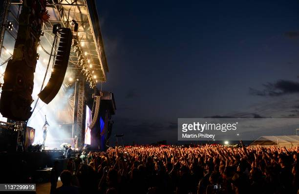General view of the stage and audience at Download Festival as Judas Priest perform on 11th March 2019 in Melbourne Australia