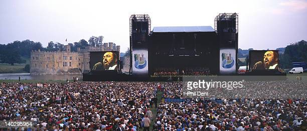 General view of the stage and audience during a Pavarotti concert at Leeds Castle, Maidstone, Kent, 1993.