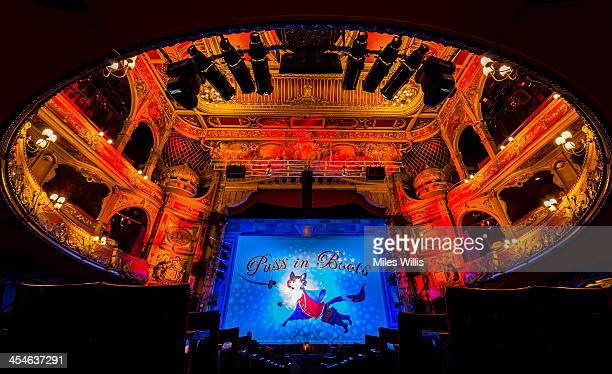 A general view of the stage and auditorium prior to the Puss in Boots pantomime at the Hackney Empire on December 6 2013 in London England