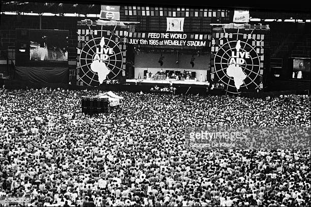General view of the stage and crowd during the Live Aid concert at Wembley Stadium on 13 July 1985 in London England Live Aid was watched by millions...