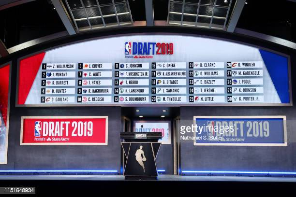 General view of the stage and draft board at the end of the first round during the 2019 NBA Draft on June 20, 2019 at Barclays Center in Brooklyn,...