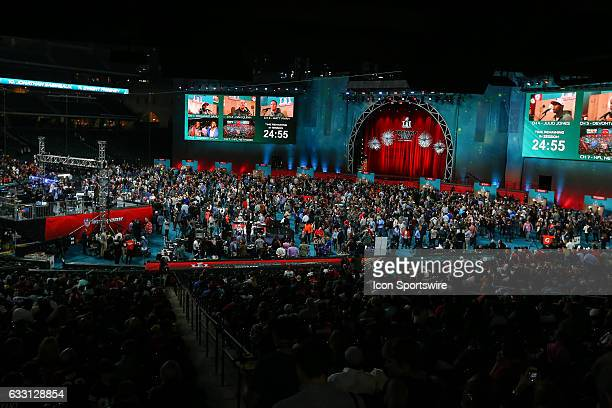 General view of the stage and floor during Super Bowl Opening Night on January 30 at Minute Maid Park in Houston Texas