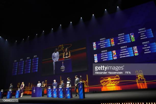 General view of the stage and the completed groups during the FIFA Women's World Cup France 2019 Draw at La Seine Musicale on December 8 2018 in...