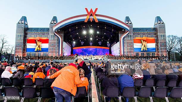 General view of the stage as Andre Rieu performs on stage at Museumplien during the inauguration of King Willem Alexander of the Netherlands as Queen...