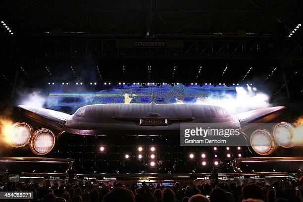 A general view of the stage as Bon Jovi performs live for fans at Etihad Stadium on the first show of his 2013 Australian Tour on December 7 2013 in...