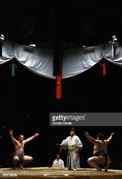 A general view of the stage as competitors prepare to wrestle under the Dohyo during the Grand Sumo Championship on October 7 2005 at Mandalay Bay...