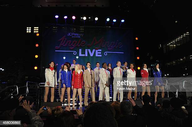 A general view of the stage at a surprise holiday event and performance by Blake Shelton with the USO Show Troupe virtual carolers and spectacular 3D...