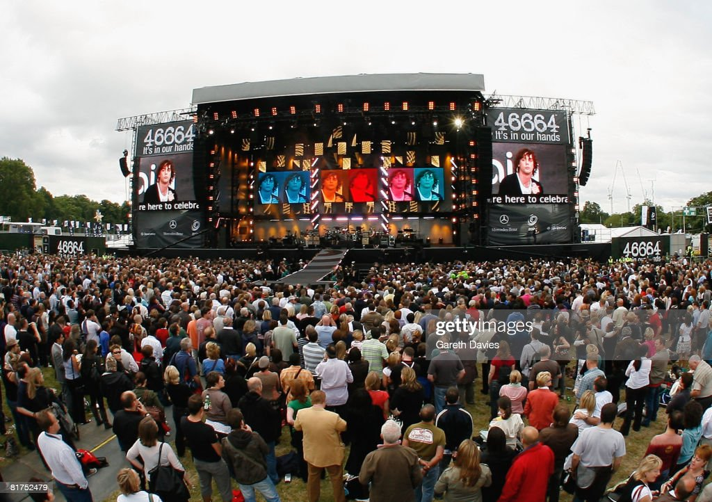 A general view of the stage at the 46664 Concert In Celebration Of Nelson Mandela's Life held at Hyde Park on June 27, 2008 in London, England.