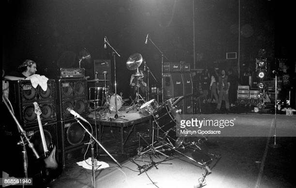 A general view of the stage at the Astoria music venue in London after a Red Hot Chili Peppers concert showing the drum kit knocked over 1989