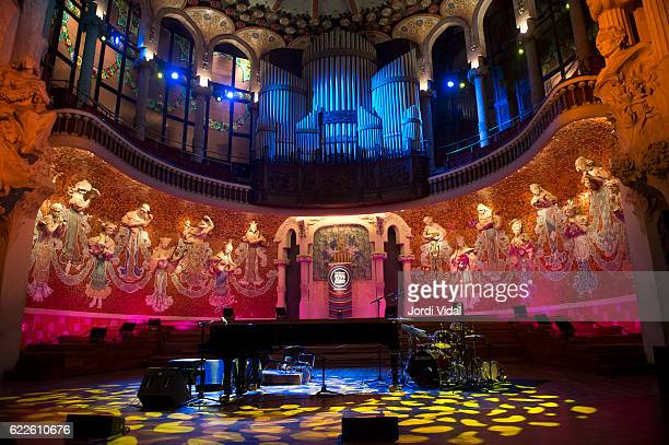 General view of the stage before the concert of Michel Legrand Trio during Festival Internacional Jazz de Barcelona at Palau de la Musica on November...
