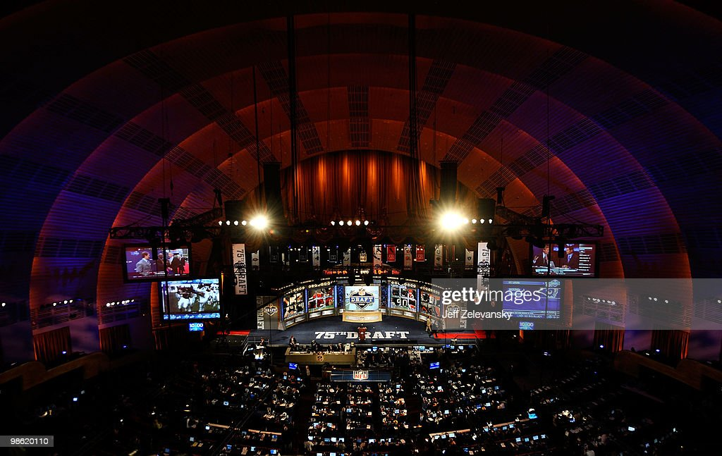 A general view of the stage during the 2010 NFL Draft at Radio City Music Hall on April 22, 2010 in New York City.