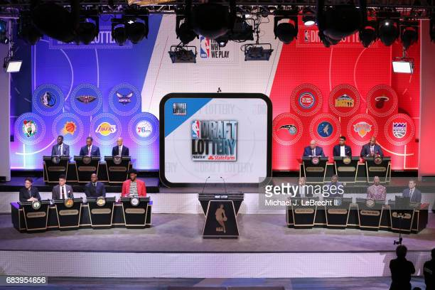 A general view of the stage during the 2017 NBA Draft Lottery at the New York Hilton in New York New York NOTE TO USER User expressly acknowledges...