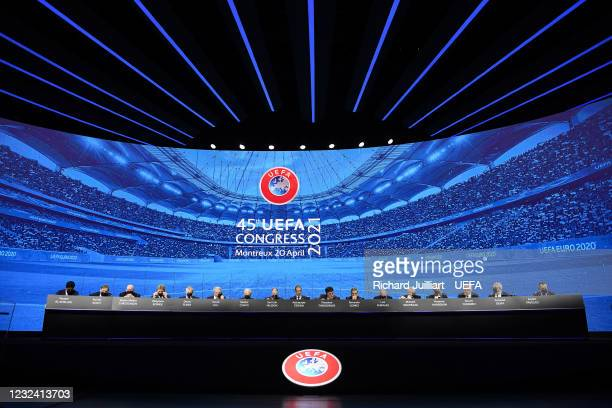 General view of the stage during the 45th Ordinary UEFA Congress at 2m2c Montreux Music & Convention Centre on April 20 in Montreux, Switzerland.
