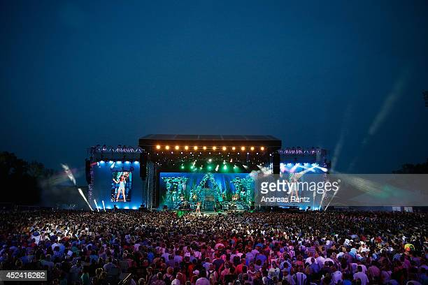 A general view of the stage during the Andrea Berg Open Air festival 'Heimspiel' at mechatronik Arena on July 19 2014 in Grossaspach Germany