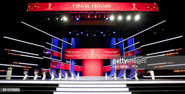 A general view of the stage during the Behind the Scenes of the Final Draw for the 2018 FIFA World Cup at the Draw hall on November 29 2017 in Moscow...