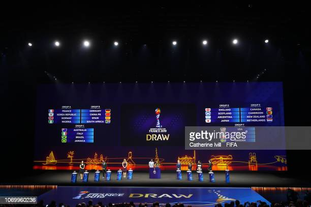 General view of the stage during the FIFA Women's World Cup France 2019 Draw at La Seine Musicale on December 8 2018 in Paris France