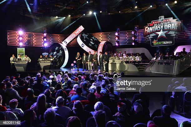 A general view of the stage during the NHL AllStar Fantasy Draft as part of the 2015 NHL AllStar Weekend at Greater Columbus Convention Center on...
