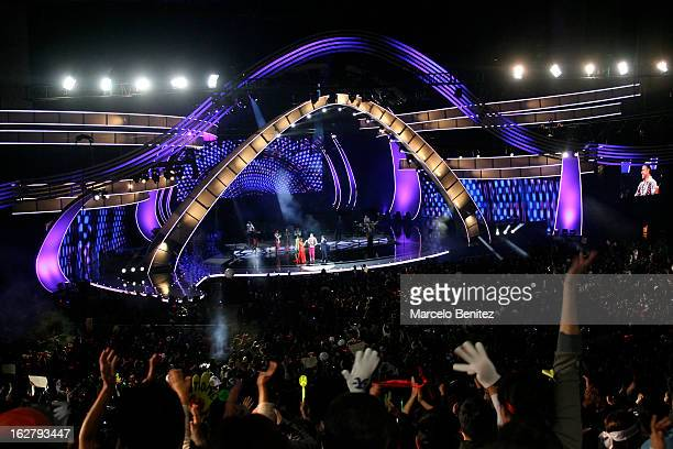General view of the stage during the performance of singer Miguel Bose during the 53rd Vina del Mar International Music Festival on February 26 2013...