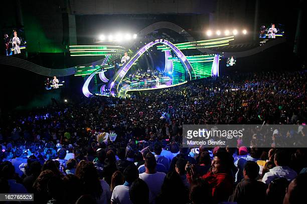 General view of the stage during the performance of the singer Romeo Santos at the Quinta Vergara during the 53rd Vina del Mar International Music...