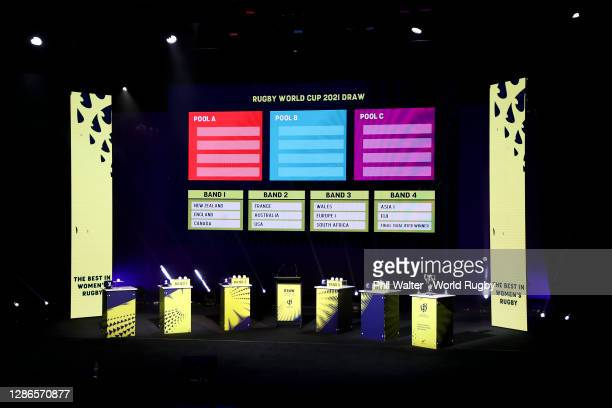General view of the stage during the Rugby World Cup 2021 Draw event at the SKYCITY Theatre on November 20, 2020 in Auckland, New Zealand.