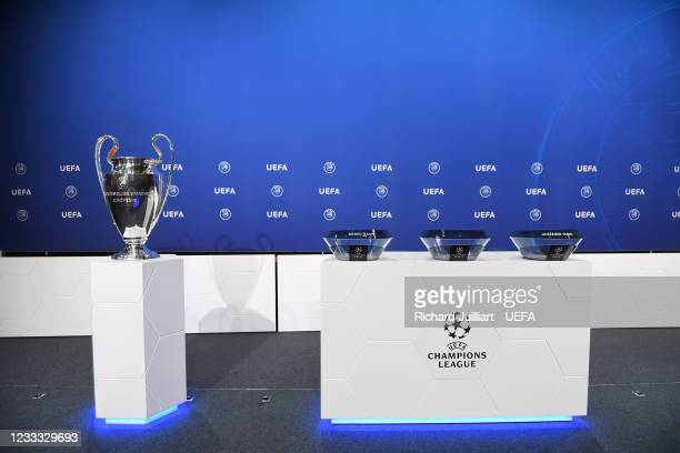 General view of the stage during the UEFA Champions League 2021/22 Preliminary Round draw at the UEFA headquarters, The House of European Football on...