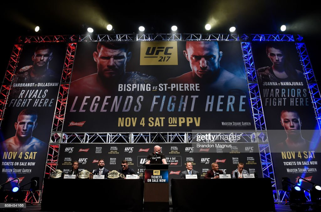 A general view of the stage during the UFC 217 news conference inside T-Mobile Arena on October 6, 2017 in Las Vegas, Nevada.