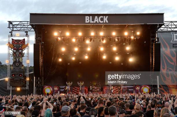 General view of the stage from behind the audience as Judas Priest perform on stage at the Download Festival on 11th March 2019 in Melbourne Australia