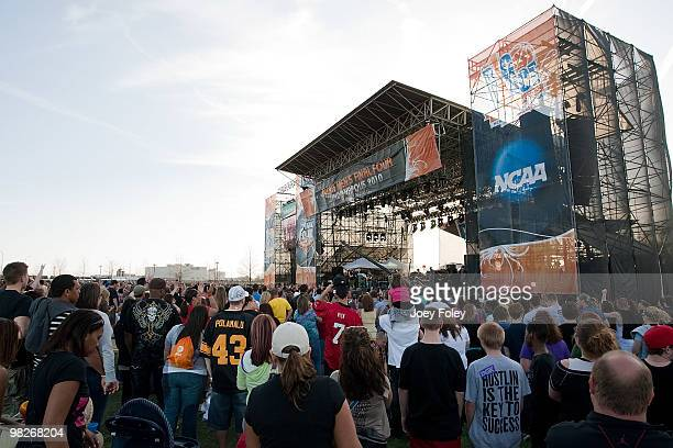 A general view of the stage from the crowd as Jake Owen performs during day 3 of the free NCAA 2010 Big Dance Concert Series at White River State...