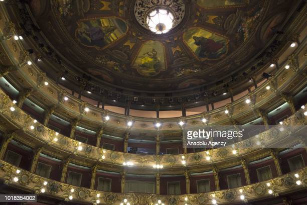 General view of the stage of the Colon Theater in Bogota Colombia where currently Broadway classic play 'A raisin in the sun' is presented to the...