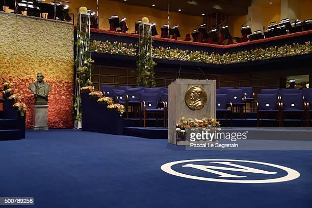 General view of the stage prior the Nobel Prize Awards Ceremony at Concert Hall on December 10 2015 in Stockholm Sweden