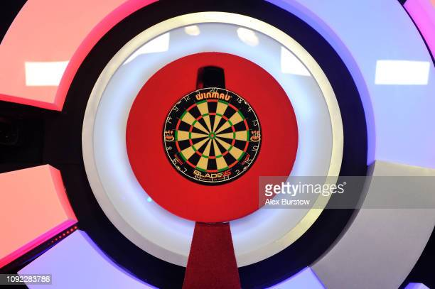 General view of the stage prior to the start of the evening session during Day Six of the BDO World Darts Championship at Lakeside Country Club on...