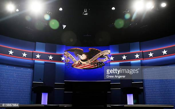 A general view of the stage prior to the start of the third US presidential debate at the Thomas Mack Center on October 19 2016 in Las Vegas Nevada...