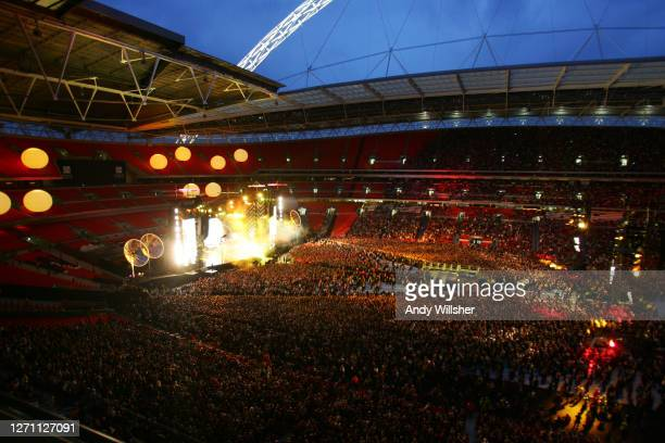 General view of the stage stadium and crowds watching rock band MUSE performing at Wembley Stadium in 2007
