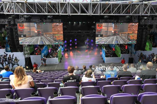 A general view of the stage used for competition during the EXP InvitationalApex Legends at X Games 2019 Minneapolis at US Bank Stadium on August 02...