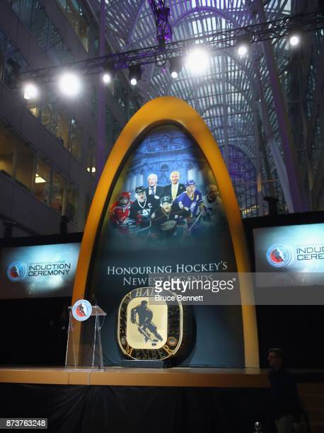 A general view of the stage which is being prepared for the Hockey Hall of Fame induction ceremony at Brookfield Place on November 13 2017 in Toronto...