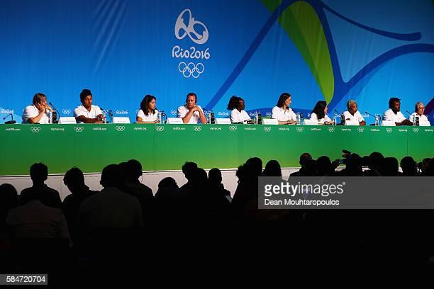 General view of the stage with Sophie Edington, Yusra Mardini, Tegla Loroupe, Yolande Mabika, Rami Anis, Popole Misenga at they speak to the media at...