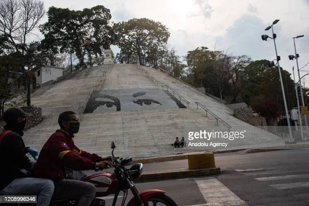 General view of the stairs of empty El Calvario as a preventive measure against the new type of coronavirus pandemic in Caracas Venezuela on April 02...