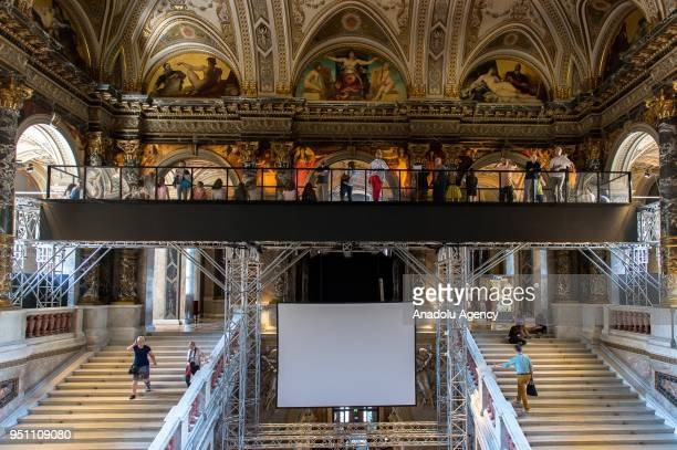 A general view of the Staiway to Klimt a bridge over the staircase at Kunsthistorisches Museum Vienna Austria on April 25 2018 On the 100th...