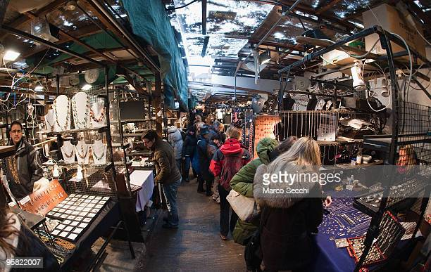 General view of the stalls of the Good Fairy Gallery in Portobello Road on January 16 2010 in London England Portobello traders fear for the Market's...